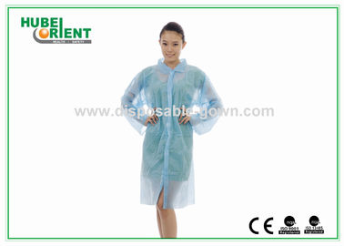 Laboratory Gowns Blue Disposable Lab Coats with ISO / CE Certified