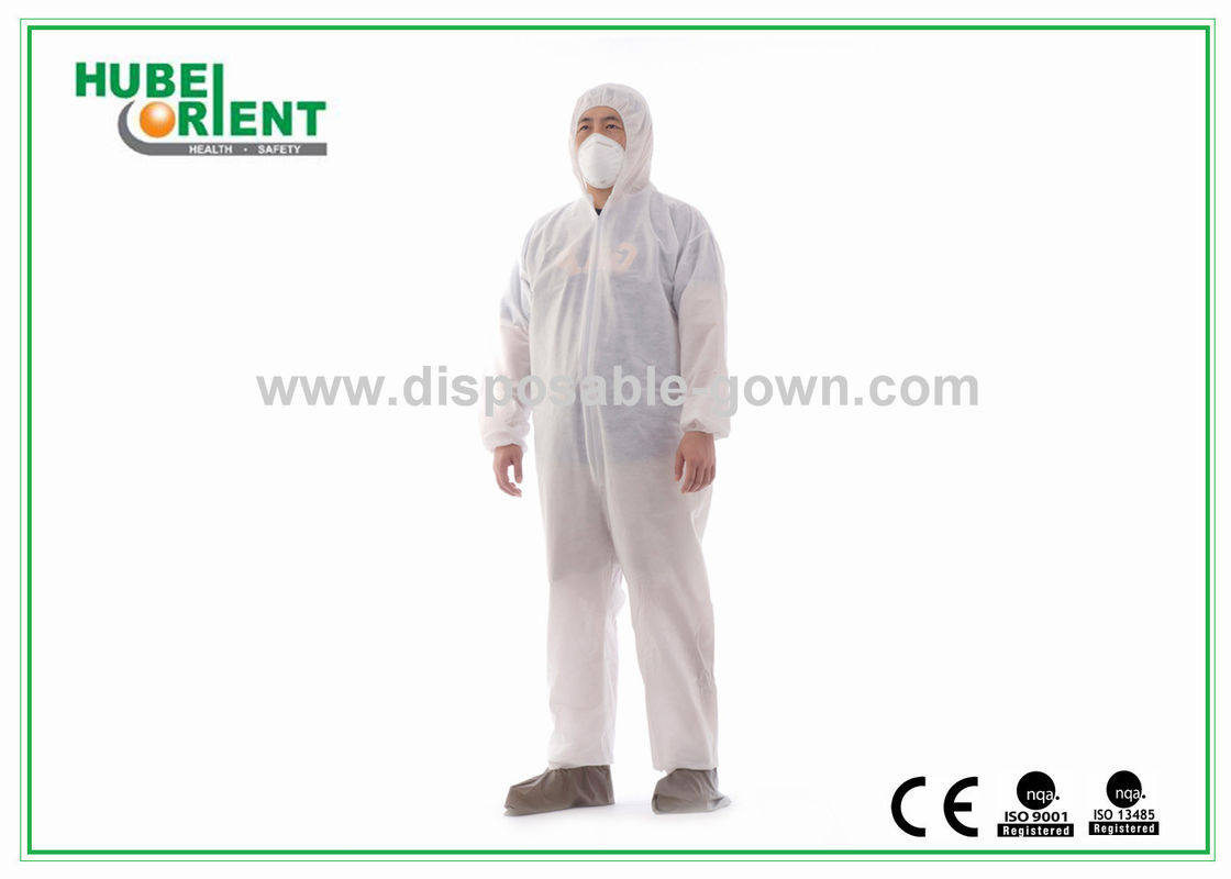 Dust Proof Breathable White Disposable Coveralls with Hood / Feetcover